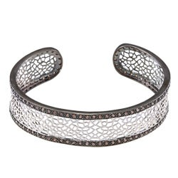 La Preciosa Silver and Blacktone w/ Chocolate CZ Open Cuff Bangle