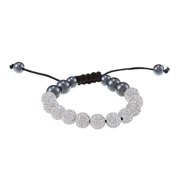 La Preciosa 10mm White Crystal and Hematite Beads w/ Black Cord Macrame Bracelet
