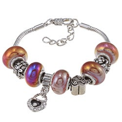 La Preciosa Pink and Purple Hematite Designed Beads with Charms Bracelet