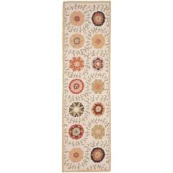 Safavieh Handmade Blossom Ivory Floral Wool Rug (2'3 x 8')