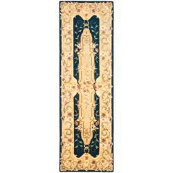 Safavieh Handmade Aubusson Plaisir Navy/ Beige Wool Rug (2'6 x 12')