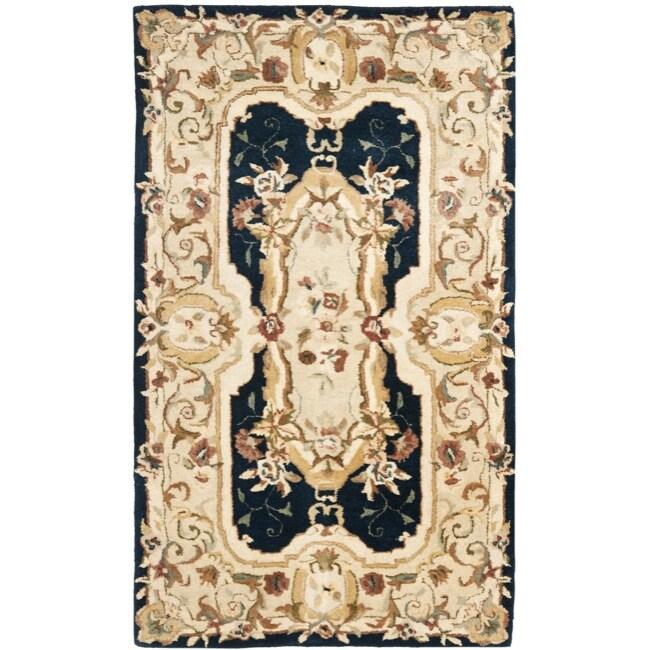 Safavieh Handmade Aubusson Plaisir Navy/ Beige Wool Rug (3' x 5')