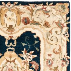 Handmade Aubusson Plaisir Navy/ Beige Wool Rug (3' x 5')