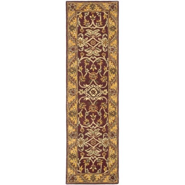 Safavieh Handmade Golden Jaipur Burgundy/ Gold Wool Rug (2'3 x 14')