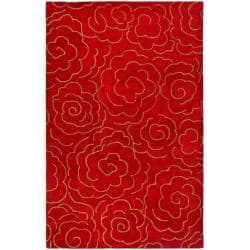 Handmade Soho Roses Red New Zealand Wool Rug (6' x 9')