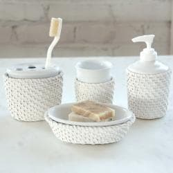 Cayman Four-piece White Rattan/Ceramic-insert Bath Accessory Set