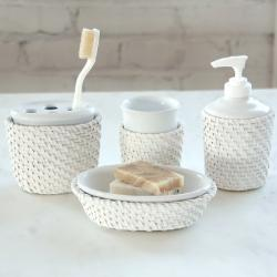 Cayman White Rattan/Ceramic-insert Bath Accessory 4-piece Set