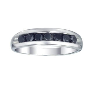 Sterling Silver 1ct TDW Men's Seven Stone Black Diamond Ring