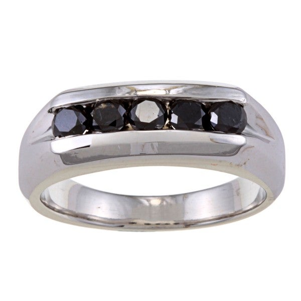Sterling Silver 8/10 Ct TDW Men's Five Stone Black Diamond Ring