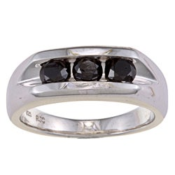 Sterling Silver 1 1/3ct TDW Men's Three Stone Black Diamond Ring