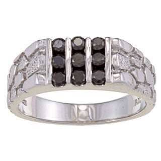 Sterling Silver 1/2ct TDW Men's Black Diamond Ring