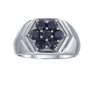Sterling Silver 2 1/2ct TDW Men's Black Diamond Cluster Ring