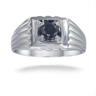 Sterling Silver 3/4ct TDW Men's Black Diamond Ring