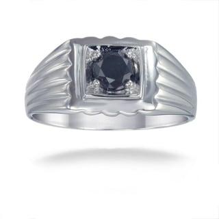 Sterling Silver 3/4ct TDW Men's Black Diamond Ring