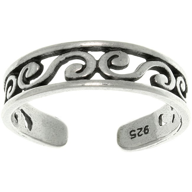 Carolina Glamour Collection Filigree Design Sterling Silver Adjustable Toe Ring