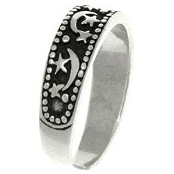 CGC Sparkle Star Moon Sterling Silver Adjustable Toe Ring