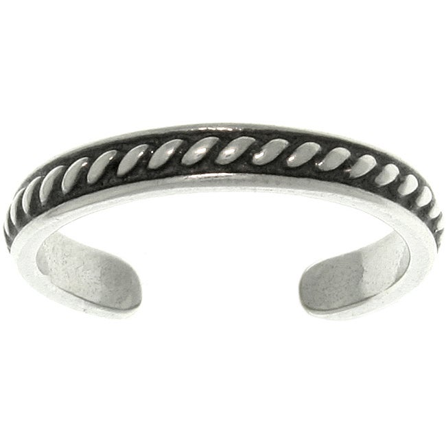 Carolina Glamour Collection Thin Beaded Sterling Silver Adjustable Toe Ring
