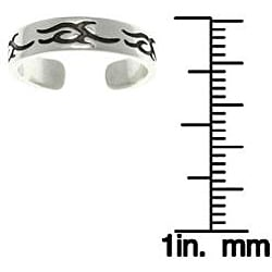 CGC Women's Tribal Design Sterling Silver High-polish Adjustable Toe Ring