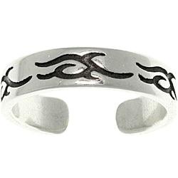 CGC Women's Tribal Design Sterling Silver High-polish Adjustable Toe Ring