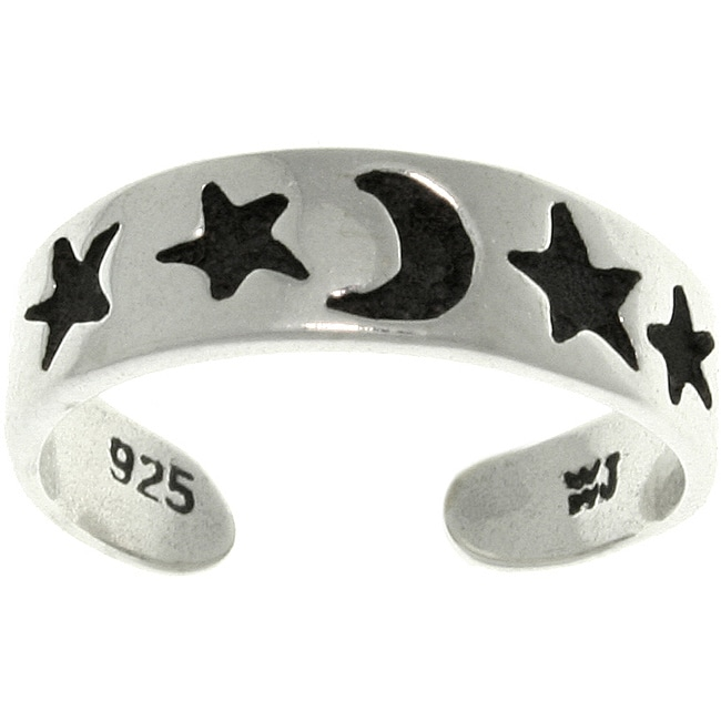 CGC Star and Moon Black/Silvertone Sterling Silver Adjustable Toe Ring