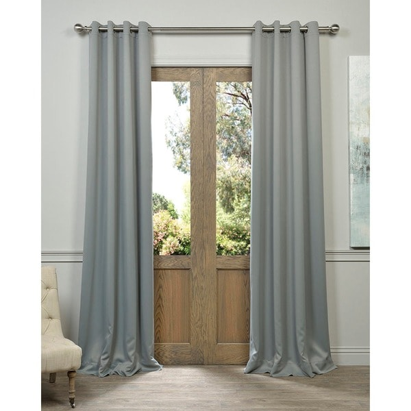Exclusive Fabrics Grey Grommet Thermal Blackout Polyester Curtain Panel Pair