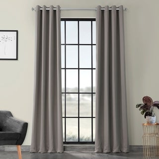 EFF Grey Grommet Thermal Blackout Polyester Curtain Panel Pair