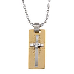 Stainless Steel Two Tone Golden Cross with Center Crystal Necklace