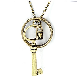 Goldtone Key Charm Pendant Necklace