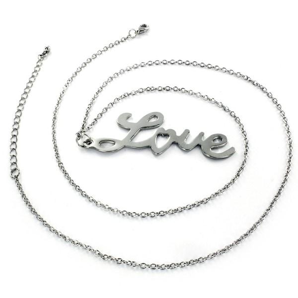 Polished Silvertone Script 'Love' Pendant Necklace