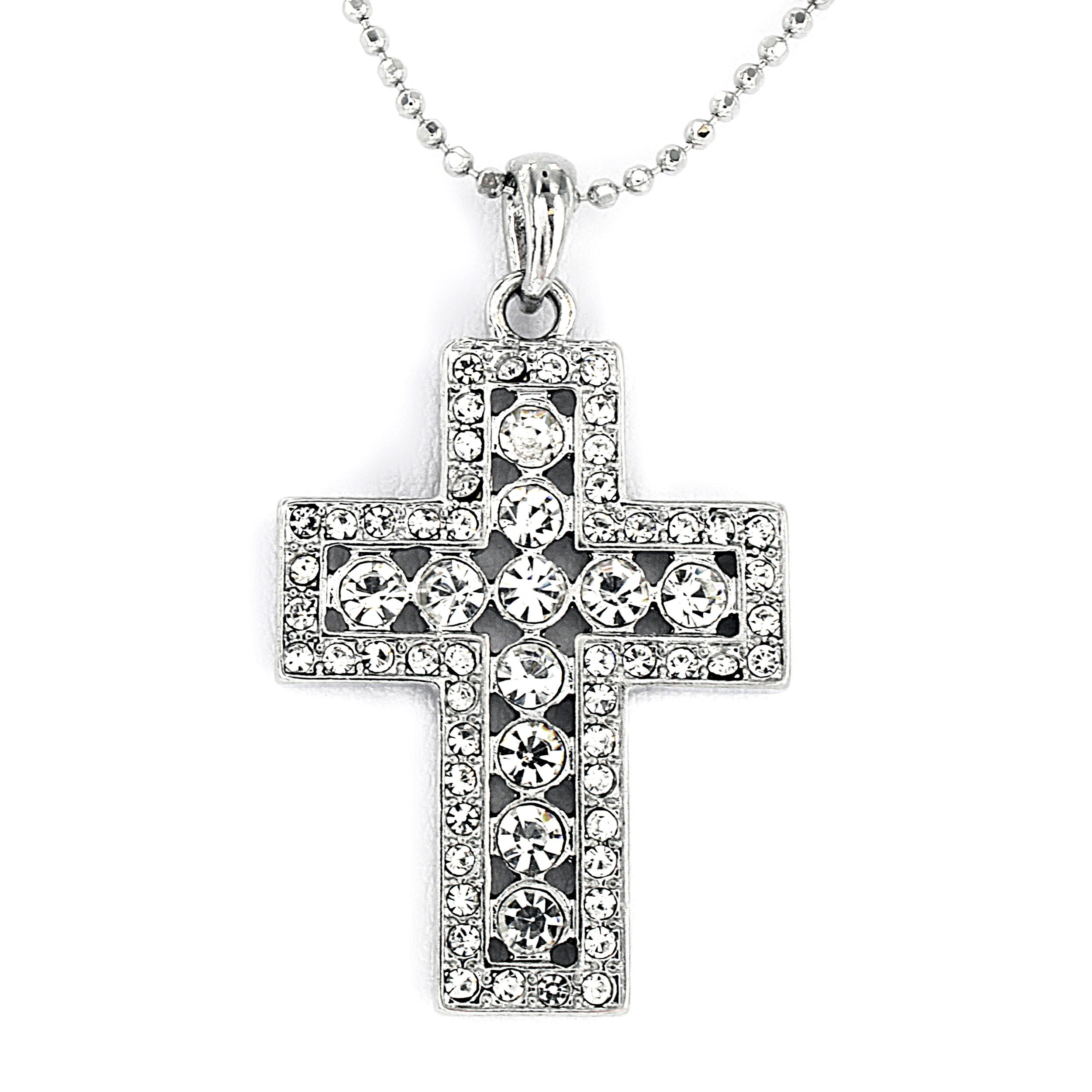 Polished Silvertone Cross with Crystals Necklace