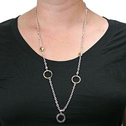 Polished Two-tone Circle Charm Badge Holder Necklace
