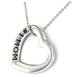Polished Silvertone '#1 MOM' Pendant Necklace