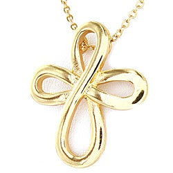 Polished Goldtone Infinity Cross Necklace