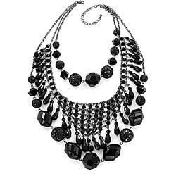 Multi-chain Black Bead Layered Bib Necklace