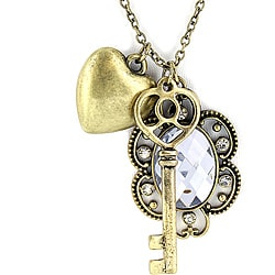 Goldtone Heart, Key and Mirrored Crystal Pendant Necklace