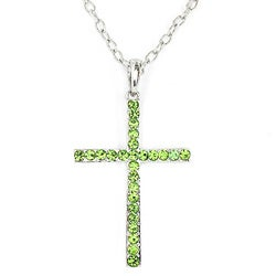 Silvertone Green Crystal Cross Pendant Necklace