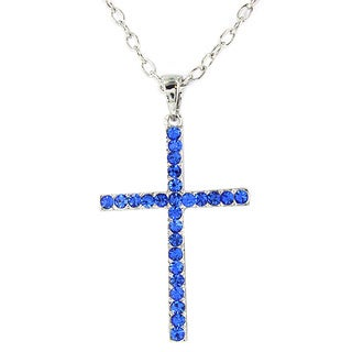 Silvertone Blue Crystal Cross Pendant Necklace