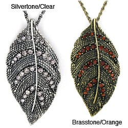 Antiqued Silvertone Leaf Crystal Pendant Necklace