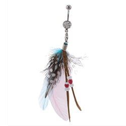 Surgical Steel Dangling Removable Feather Belly Ring