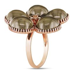 Miadora 14k Pink Gold Smokey Quartz and Diamond Accent Ring (G-H, SI2)