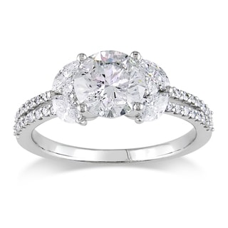 Miadora 18k White Gold 1 3/4ct TDW Round and Marquise Diamond Ring (H-I, I1-I2)