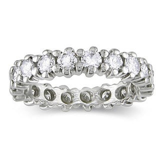 Miadora 14k White Gold 2ct TDW Diamond Eternity Ring (G-H, SI1)