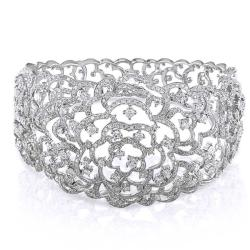 Miadora 14k White Gold 8 1/8ct TDW Diamond Bangle Bracelet (G-H, I1-I2)