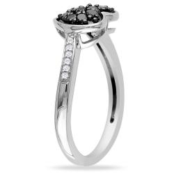 Miadora Sterling Silver 1/4ct TDW Black and White Diamond Heart Ring (G-H, I3)