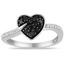 M by Miadora Sterling Silver 1/4ct TDW Black and White Diamond Heart Ring (G-H, I3)