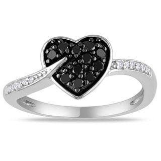 Haylee Jewels Sterling Silver 1/4ct TDW Black and White Diamond Heart Ring (G-H, I3)