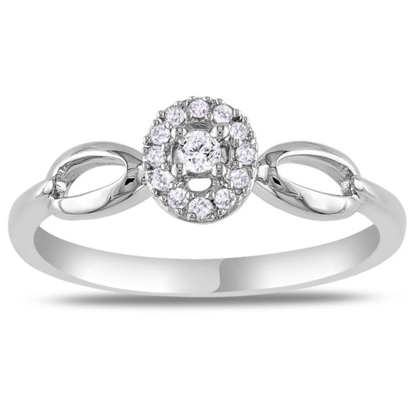 10k White Gold Oval Diamond Promise Ring (G-H, I2-I3)