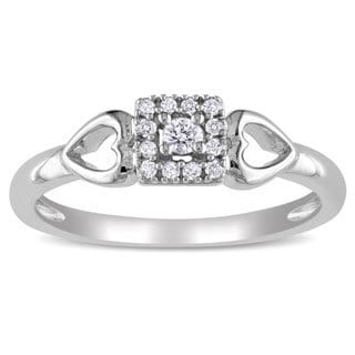 Miadora 10k White 1/10ct TDW Diamond Hearts Ring (G-H, I2-I3)