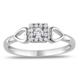 Miadora Sterling Sliver 1/10ct TDW Diamond Heart Ring (G-H, I2-I3)