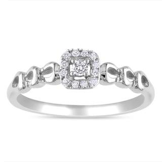 Miadora 10k White Gold 1/10ct TDW Diamond Ring (G-H, I2-I3)